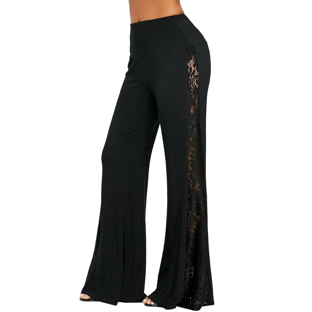 2c615ff295 2019 Sleeper#401 2019 NEW FASHION Fashion Womens High Waist Lace Insert Wide  Leg Pants Leggings Loose Trousers Sexy Hot From Eventswedding, $39.31 |  DHgate.