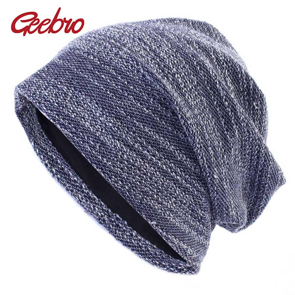 512919f15 Geebro Winter Unisex Beanie Hat Knitted Cotton Slouchy Beanie for Women  Spring Men s Mixed Color Balavaca Skullies&Beanies DQ891