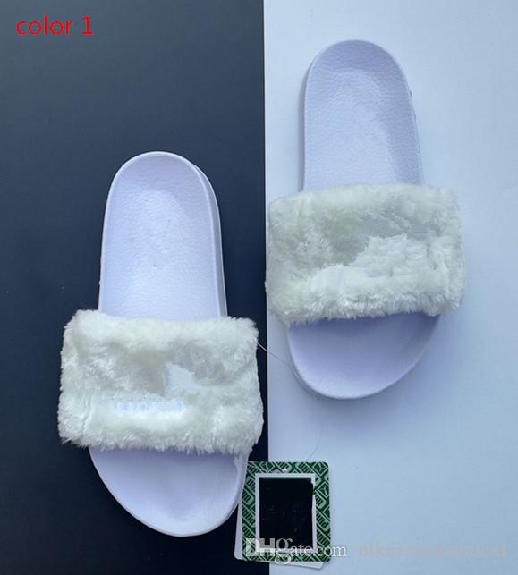 cheap for discount cf976 9fdc2 Leadcat Fenty Rihanna Faux Fur Slippers Women Girls Sandals Fashion Scuffs  Black Pink Red Grey Blue Slides High Quality Slippers