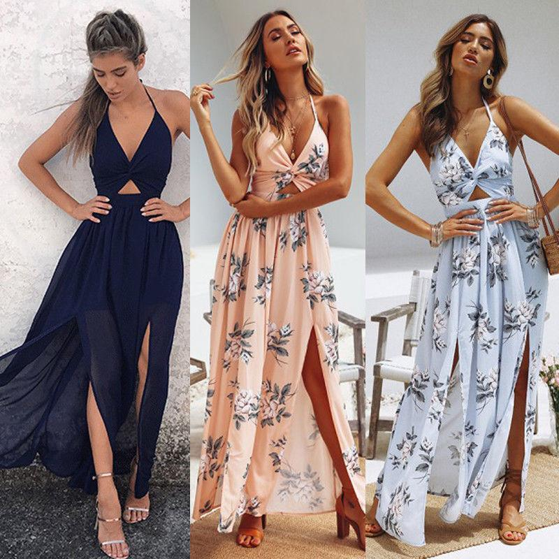 ed23d1a1715 2019 Womens Summer Boho Maxi Long Dress Evening Party Beach Dresses  Sundress Floral Halter Dress Summer Yellow T Shirt Dress Dress For Womens  From Ziron