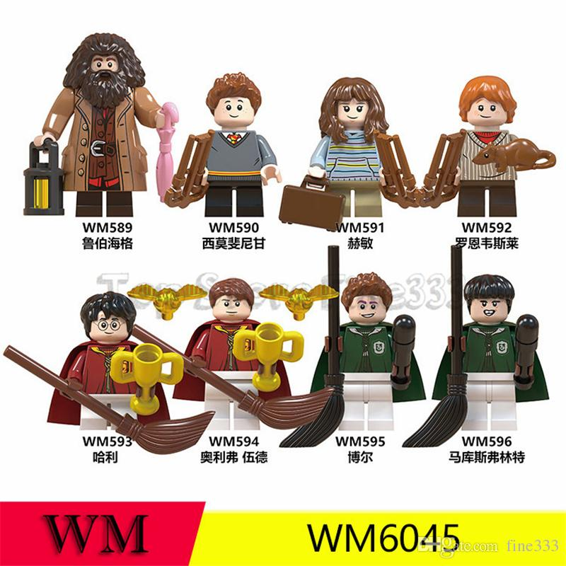 Harry Potter Minifig ABS Blocks Building Toys Rubeus Hagrid Hermione Granger Minifigs Doll 4.5CM Ron Weasley Bricks WM6045 Kids toys