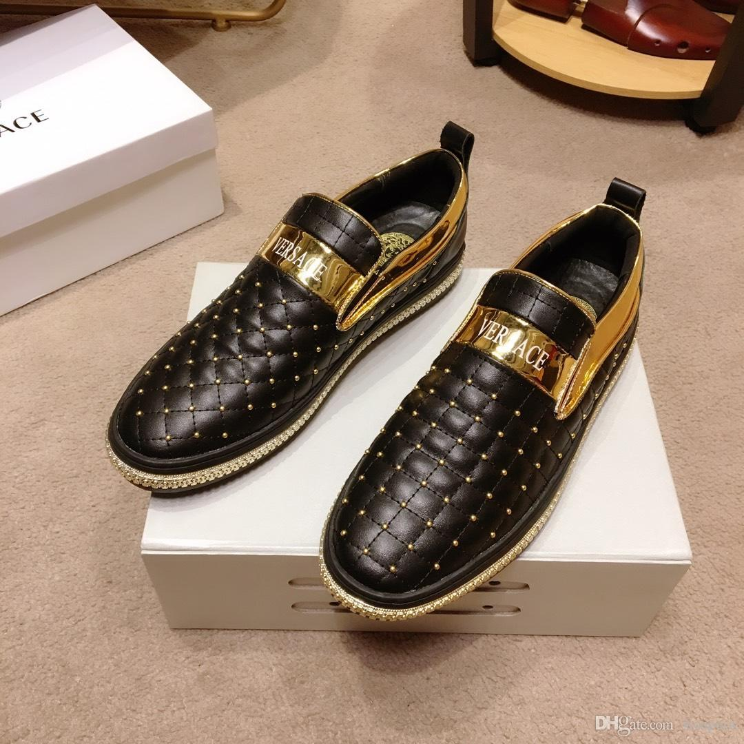 2019 custom leather men's casual shoes, trend wild fashion shoes, DHL with a full set of shoe box delivery, yards 38-45