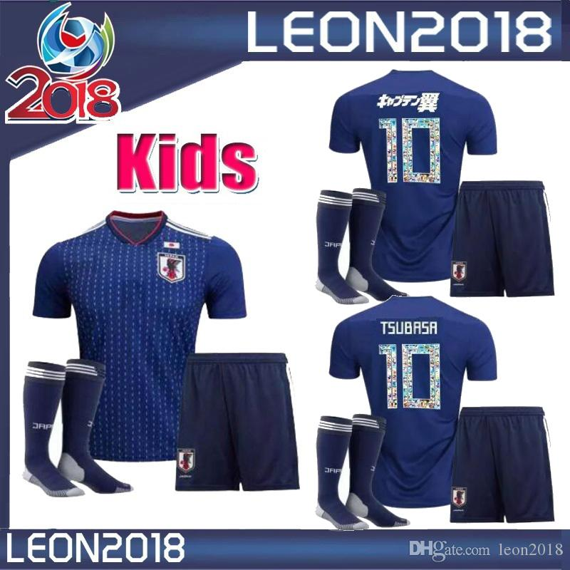 930a4510463 2019 Kids Set 2018 TSUBASA Soccer Jersey Japan World Cup ATOM 18 19 Home  Away KAGAWA Japanese Youth Child Football Jerseys Shirts From Leon2018