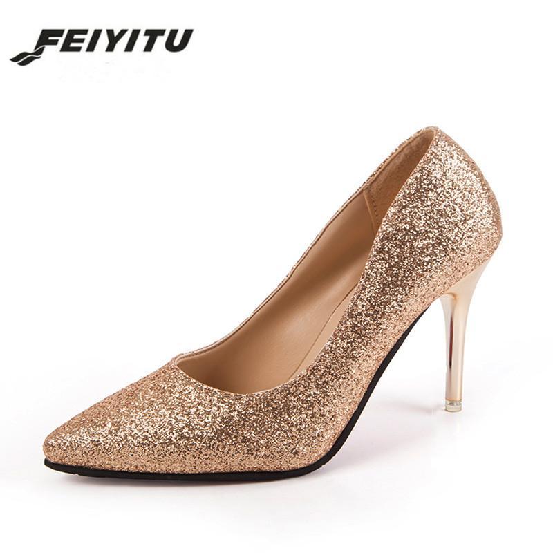 bf072c306a Compre Zapatos De Vestir De Diseñador Feiyitu OL Office Lady Para Mujer  Tacones Altos Lentejuelas Doradas Bombas De Tela Vestido De Mujer Boda De  Plata ...
