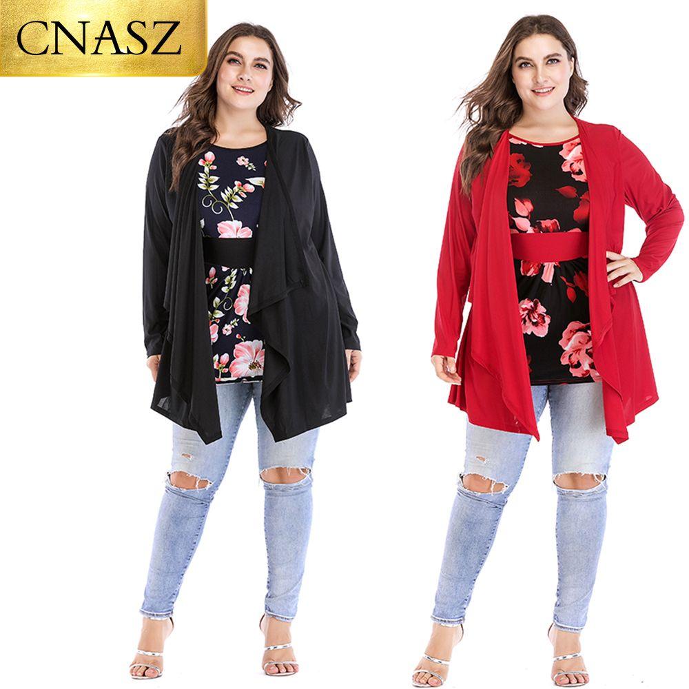 2019 Usa Plus Size Two Pcs Flower Long Sleeve Fashion Tops Women