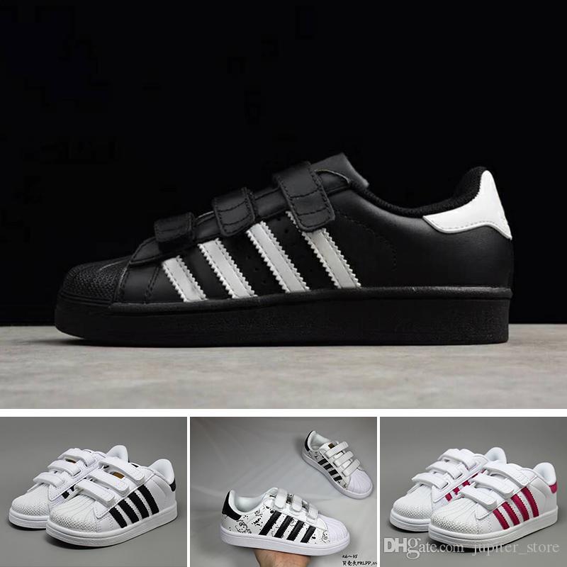 Adidas Superstar Calzado deportivo DIDAS Superstar Calzado para niños Diseño clásico Negro Blanco Bebé Zapatillas de deporte para niños Casual