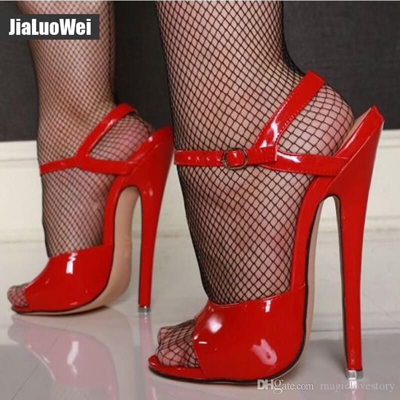 0214c751ae4a49 18cm 7 Inch High Heels Sandals Unisex Sexy Ankle Strap Buckle High Heeled  Shoes Summer Women Sandals Fashion Party Prom Shoes Plus Size Man Silver  Shoes ...