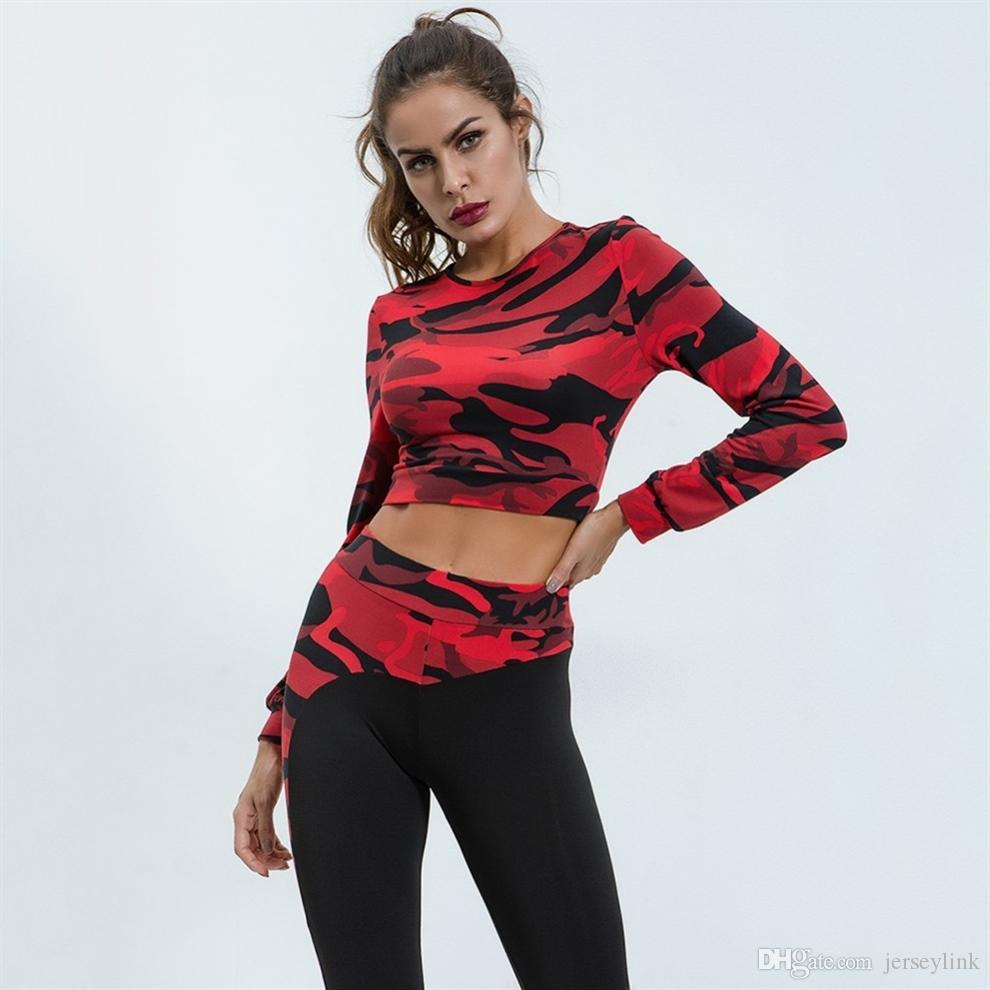 abc4c282e519 Long Sleeve Crop Tops + Leggings Yoga Set Women Fitness Sport Suit  Camouflage Gym Running Clothes Jogging Workout Tracksuit #342280