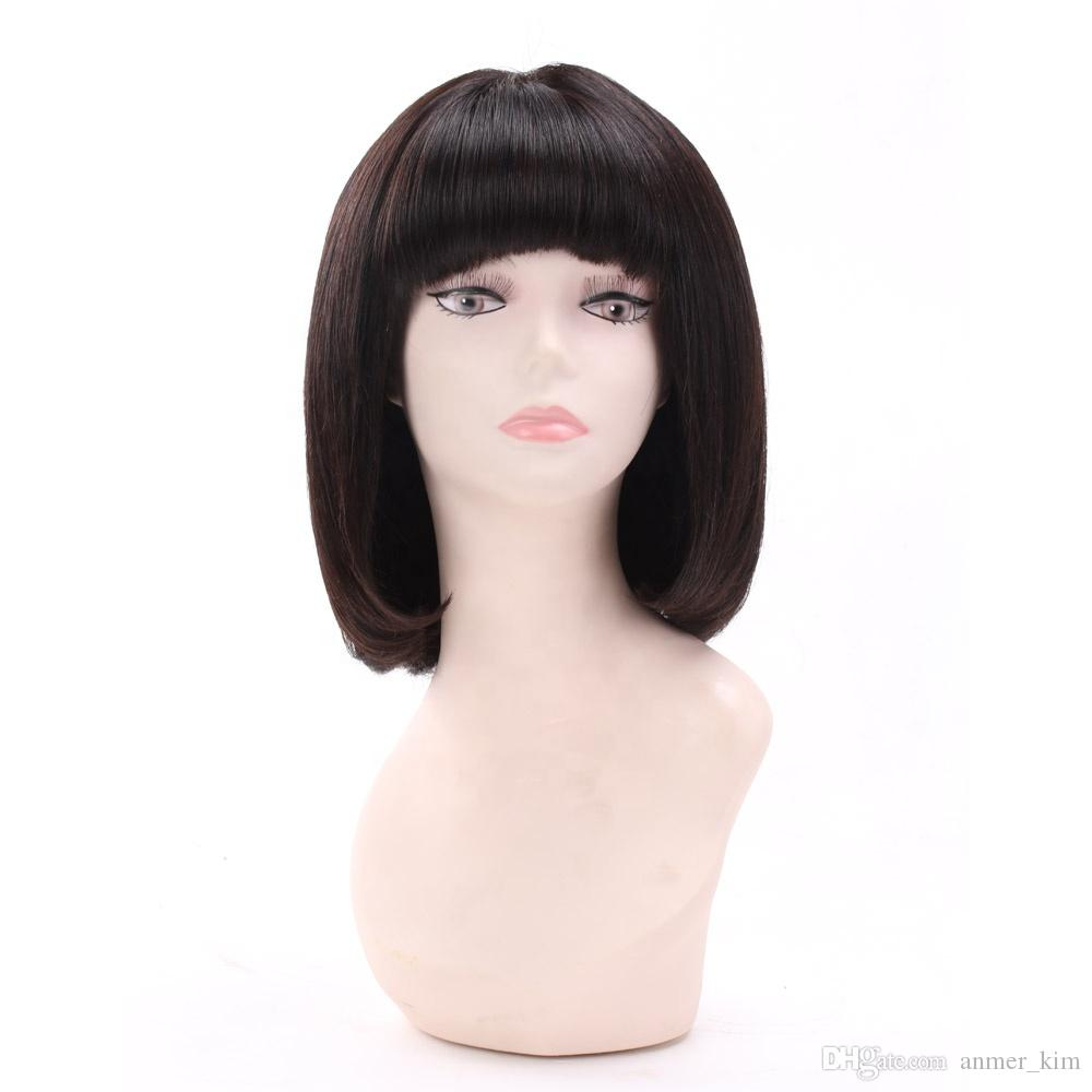 Nature bob short bangs unprocessed virgin remy human hair natural color natural straight full lace top cap wig for girl