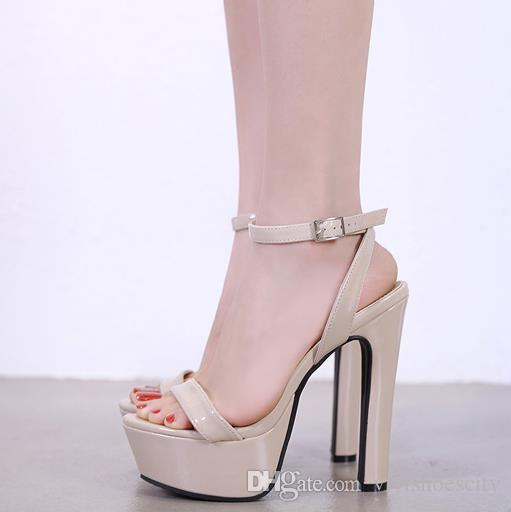 14cm Sexy Women Nude Pumps Ankle Strappy Platform Thick High Heels ... 37271181d5fa