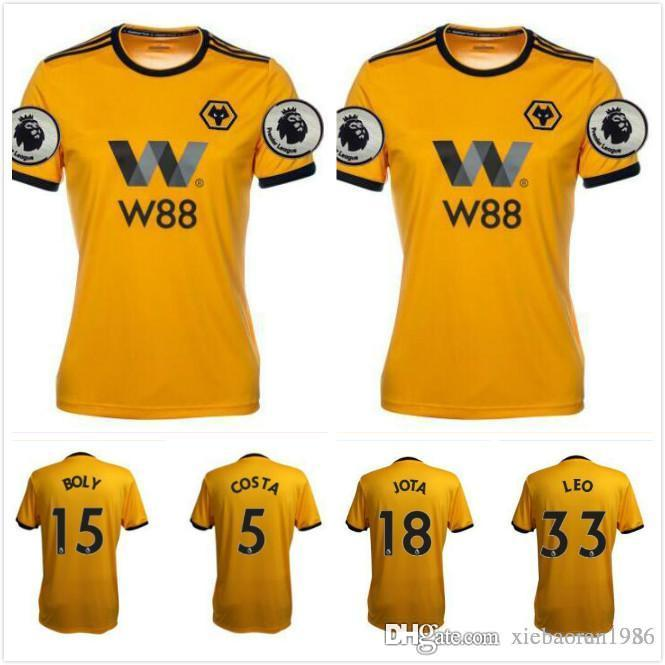 337ddb6872d 2019 2018 2019 ADULT HOME SHIRT Wolverhampton Wanderers Customized Top Thai  Quality Soccer Jerseys Diogo Jota Leo Costa WOLVES FC Football Shirt From  ...