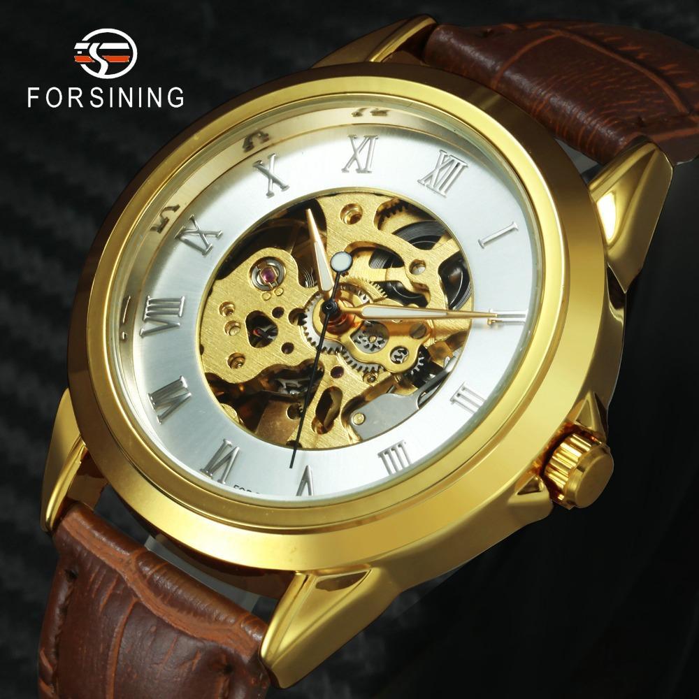 Compre FORSINING Retro Hombres Relojes Mecánicos De Primeras Marcas De Lujo  Número Romano Esqueleto Correa De Cuero Clásico Reloj De Pulsera Automático  ... 9e902515429e