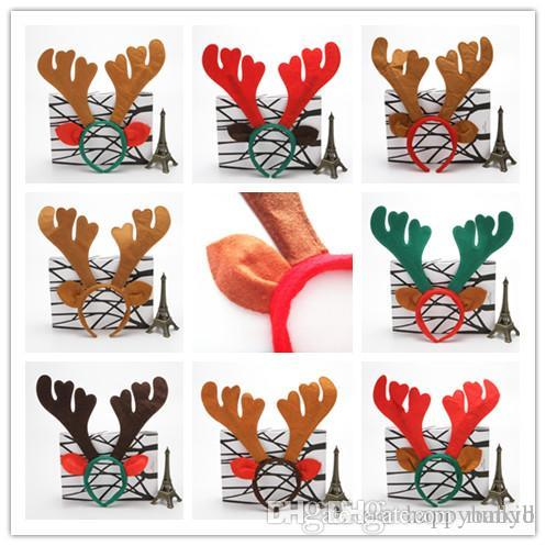 New 8 Color Reindeer Antlers Headband Deer Elk Horn head band For Children Adults Headdress Christmas Party jingle bells hair band