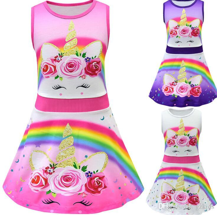 e2e7696d64c 2019 Baby Clothes Set Toddler Kids Baby Girl Cartoon Rainbow Unicorn Print  Tunic Casual Princess Party Dress From Gzkids