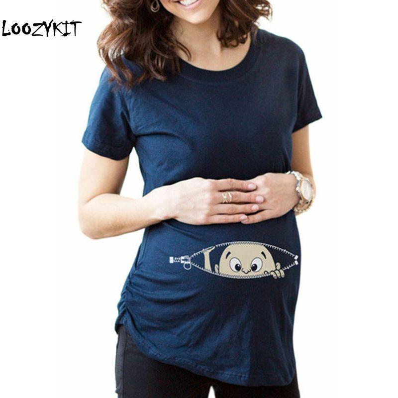 1b60532bb4 2019 Loozykit Summer Maternity Pregnancy T Shirt Women Cartoon Tee Baby  Print Staring Pregnant Clothes Funny T Shirt Plus Size S 3XL From  Sophine13, ...