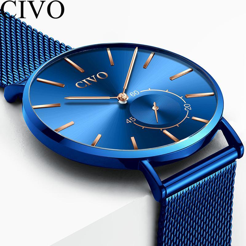 53e3fd8a897 Compre CIVO Relógio De Luxo Dos Homens Ultra Fino À Prova D  Água Moda  Simples Relógios De Quartzo Azul De Aço Malha De Negócios Reloj Hombre 2018  Homens ...