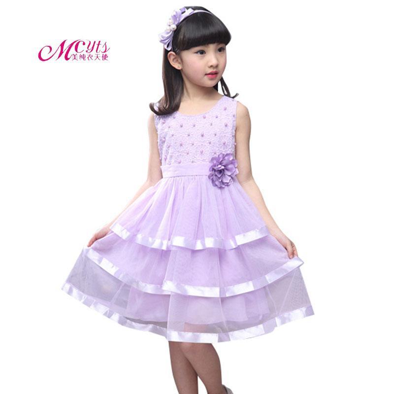 878e242df82b4 Acheter 2019 Filles Robe D été Floral Perle Princesse Robe De Fête  Vêtements Pour Enfants 4 6 8 10 12 Ans Fête D anniversaire Événements Bal De   21.17 Du ...