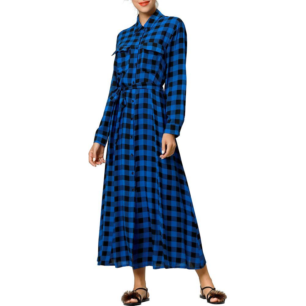 227db41b049 Cheap es Women Maxi Dress Plaid Print Long Dresses Feminine