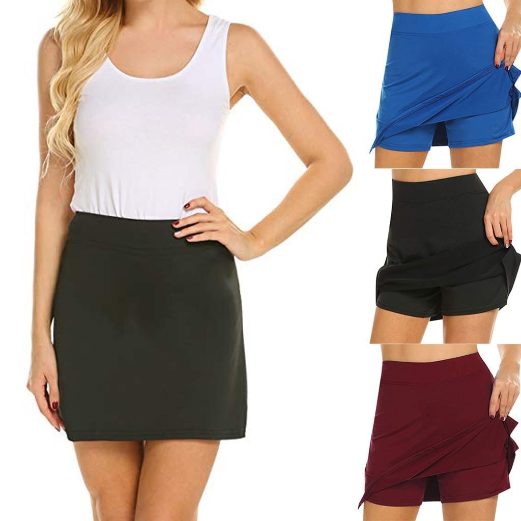 d31e2d92b4 Mini Skirt Sexy Polyester Skirt Summer 2019 Fashion Women s Running Tennis  Golf Workout Sports Active Skorts W406