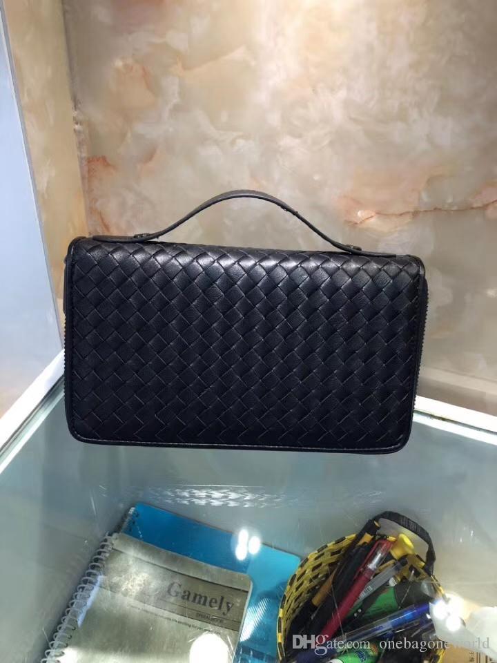 7 Stars beste Qualität Großhandel Entwerfer-echtes Leder-Doppelt-Reißverschluss-Around Bussiness Bag Docuement Kasten-Kartenhalter Crochet lange Mappe