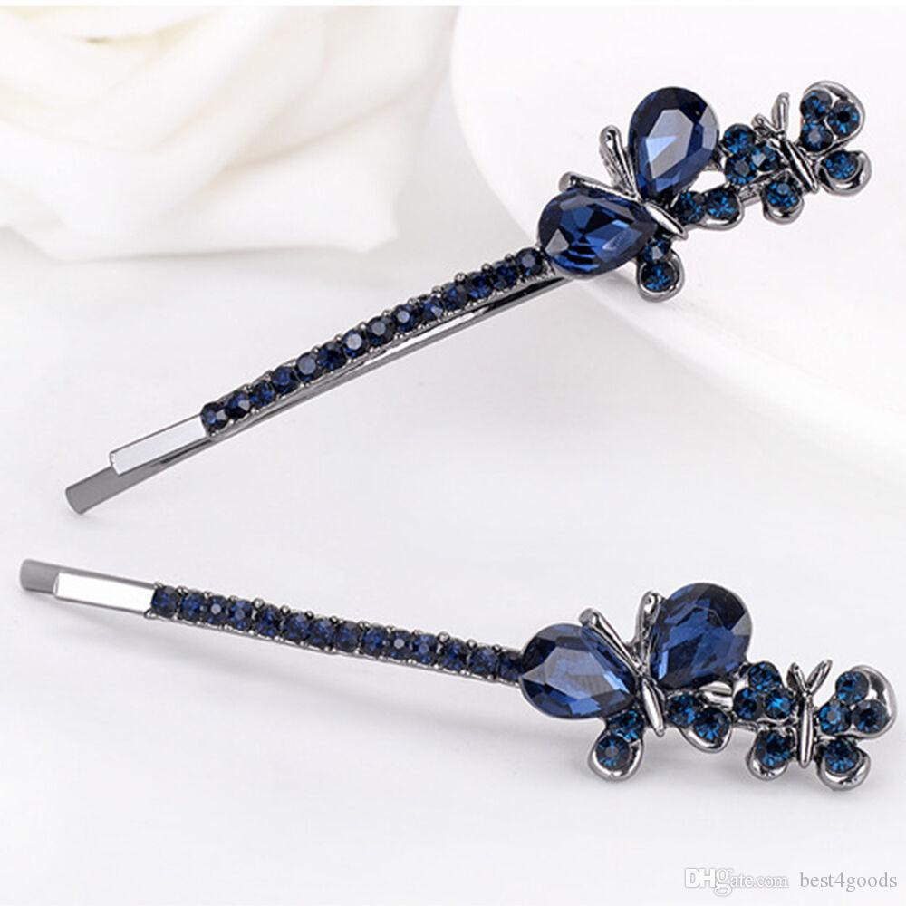 1Pair Vintage Women Hairpins Crystal Rhinestone Flowers Shaped Hair Clips Girls Barrettes Hairpins Clamp Hair Accessories
