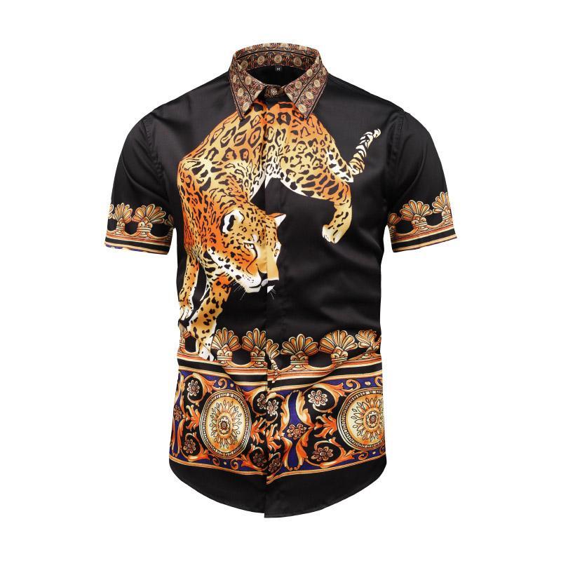 magasin en ligne 81bb3 5c230 True Reveler chemises à imprimé léopard animalier hommes chemise à manches  courtes 3D panthère tigre chemisier caractère fleur ange