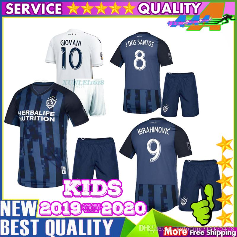 new product 54efa 3f7b6 new 2018 LA Galaxy Soccer Jersey kit home white 19 20 IBRAHIMOVIC KEANE  GIOVANI ZARDES GERRARD children Football LA Galaxy kids kit Soccer