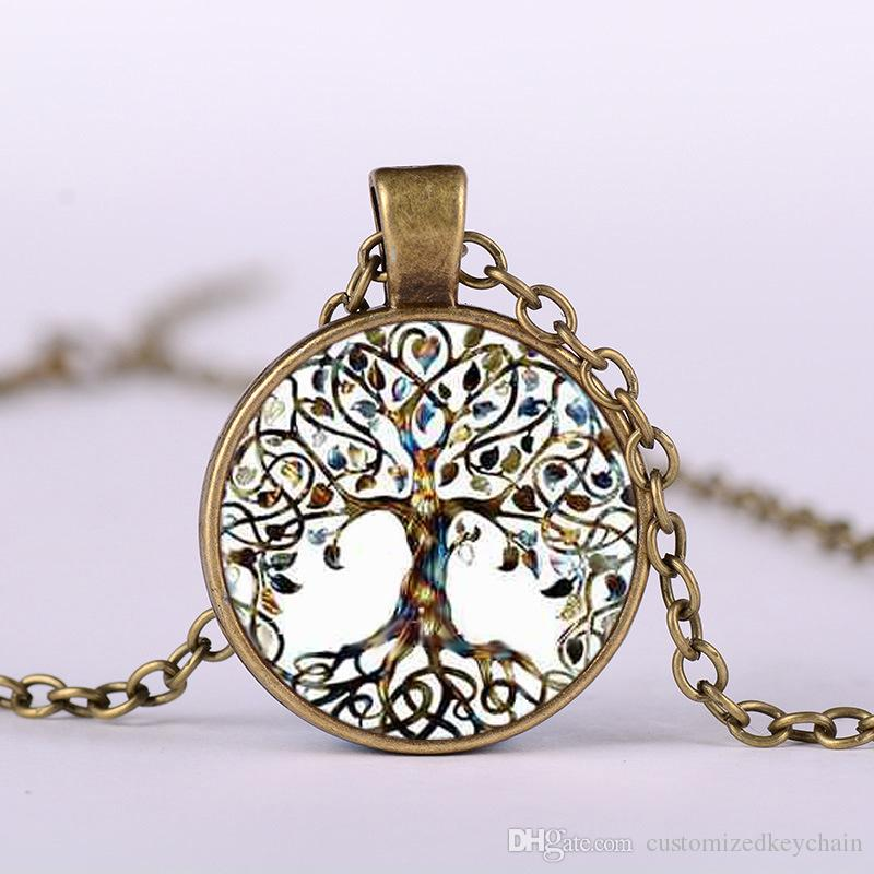 Life Tree of European and American Foreign Trade Jewelry Time Jewelry Necklace Wholesale DIY Alloy Glass Pendant Necklace Wholesale