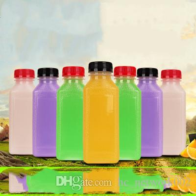 Scrub Bottle Empty Clear Plastic Juice Bottles Milk Bottles wirh evident cap Great for Storing Homemade Juices