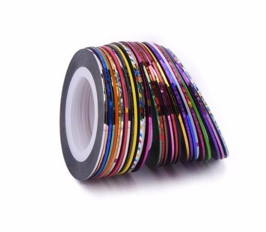 30pcs 30 multicolori colori misti Rolls Striping Line Line Nail Art Decoration Sticker Fai-da-te Nail Tips Glitter Nail