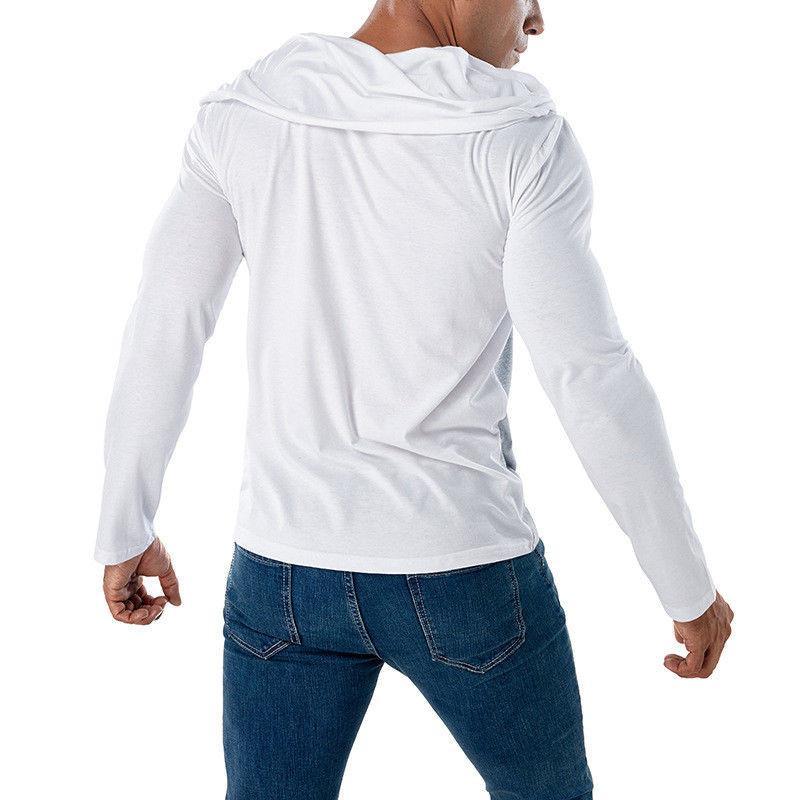 Shirt Muscle T Uomo Slim Fit Men Casual maniche lunghe T-shirt di vendita di modo autunno estiva da uomo di colore a mosaico superiore della pianura Tee Nuovo