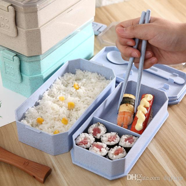 a07f2718673e Lunch Boxes Student Office Worker Double Lunch Boxes Wheat Straw Healthy  Material Fresh Lunch Box Cutlery Set