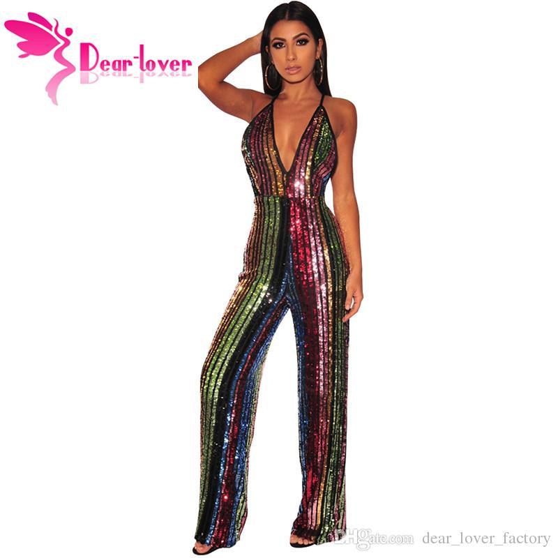 27dd4ae212 2019 2019 Sexy Sequin Wide Leg Jumpsuit In Rainbow Stripe Women S ...