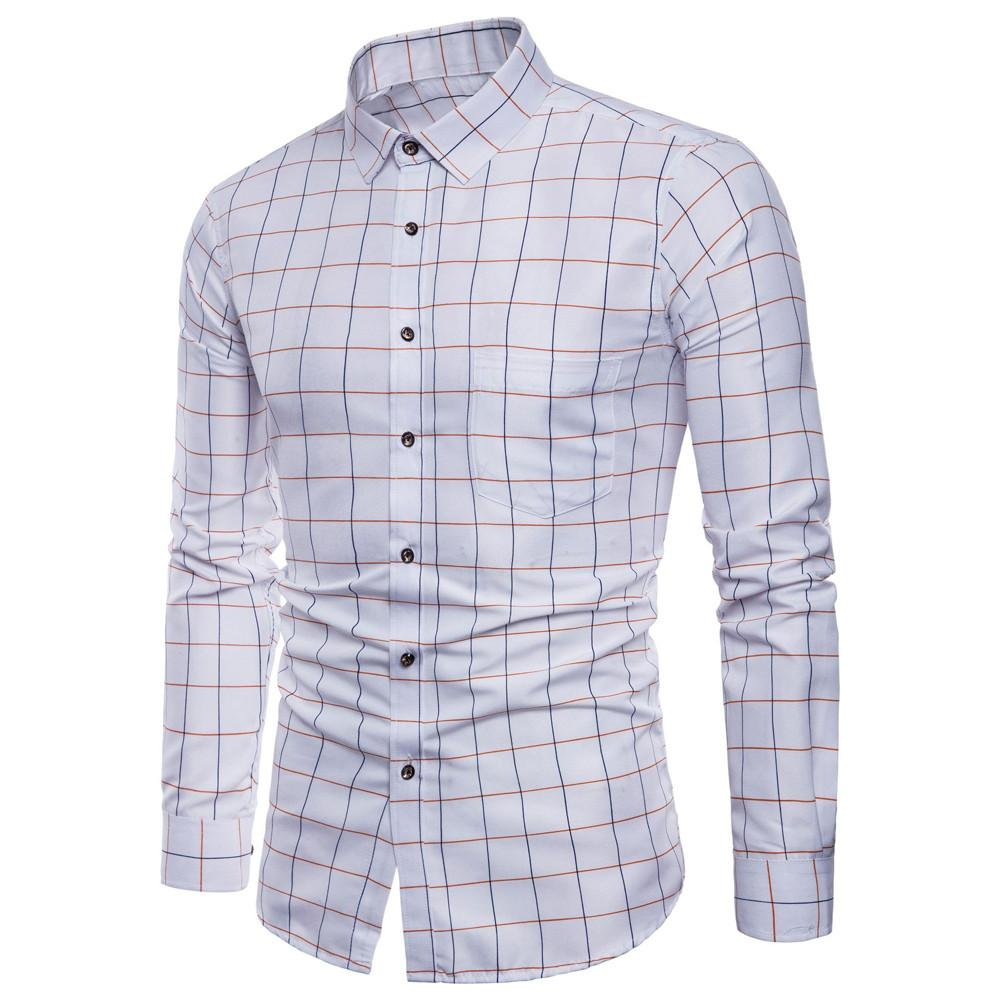 Hot Selling Mens Shirt Long Sleeve Winter Autumn Plaid Printing Oxford Formal Casual Plaid Slim Fit Tee Dress Shirts Blouse Top