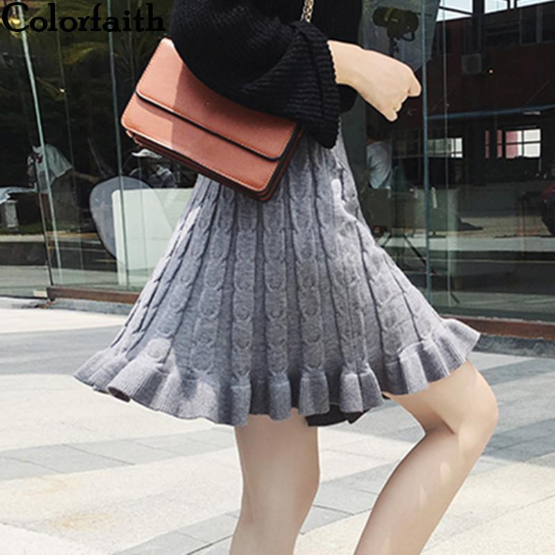 bc5bbb7869726 Colorfaith New 2019 Women Knitting Mini Autumn Winter Vintage Fashion  Ladies Pleated Ruffles Skater Skirt Female SK8202 Q190424