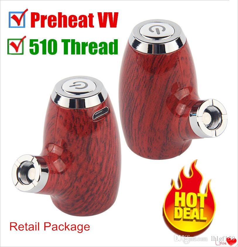 2019 Hot Beleaf Vape Mods Preheat Variable Voltage Rechargeable Wooden E Pipe Starter Kit 900mAh E Cigarettes For 510 Thread Vape Cartridges