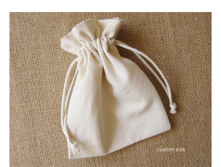Cotton Canvas Drawstring Bag Jewelry Pouches Cosmetic/Storage/Wedding/Packing/Gift/Earrings/Bead Pocket Custom Logo Print