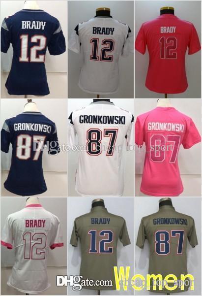 check out a3cb7 a44c4 Women New Jerseys 12 Tom Brady Patriots 11 Julian Edelman 87 Rob Gronkowski  Olive Salute to Service Ladies Size S-2XL