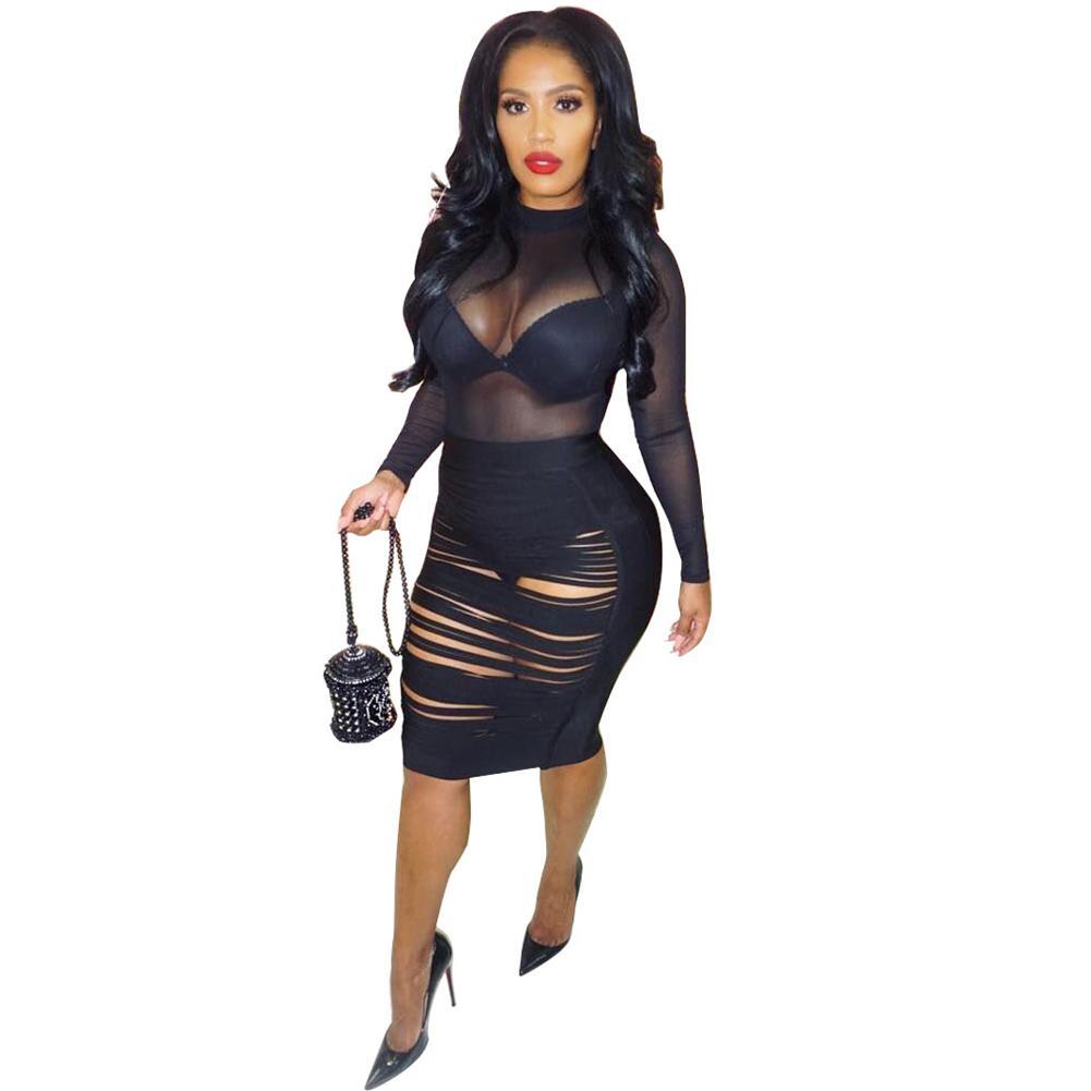 cb8b5b695 Sexy Bandage Bodycon Dress Women Ribbed Sheer Mesh Dress Female Long Sleeves  Hollow Out Sheer Night Club Party Dress Black Robe Casual Long White Summer  ...