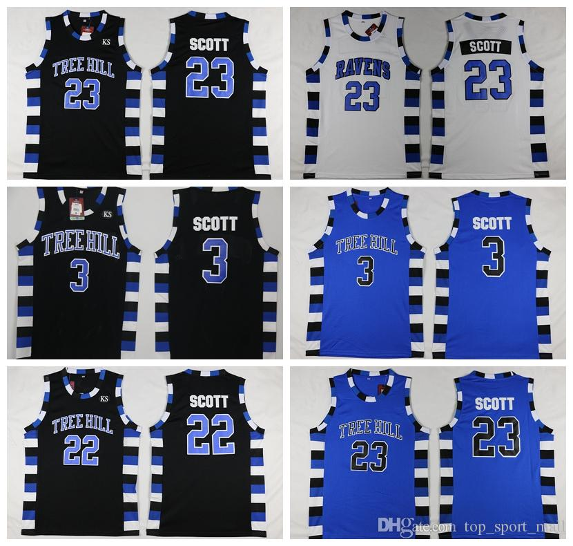 NCAA One Tree Hill Ravens Basketball Jersey Brother Movie 3 Lucas Scott 23  Nathan Scott Black White Blue UK 2019 From Top sport mall 3388fc705