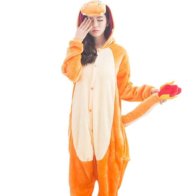Compre Lindo Charizard Onesie Adultos Pijamas Animal De Dibujos Animados  Traje Dragón Naranja Mujeres Hombres Fiesta De Invierno Cálido Pijama Ropa  De ... 8bcfce66f427