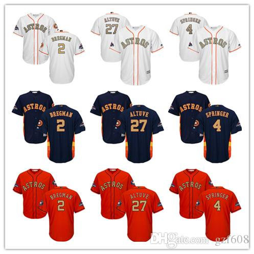 new products 3543e 6d12b Youth's Majestic Houston Astros Jersey #4 George Springer 27 Jose Altuve 2  Alex Bregman White 2018 Gold Program Kids Boys Baseball Jerseys