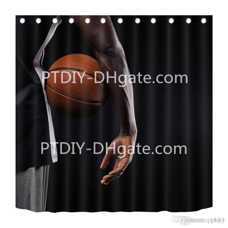 2019 Basketball Player And Ball Black Background Shower Curtain For Bathroom Sports Game Theme Men Anti Mildew Water Repellent From Ptdiy1