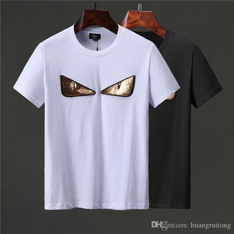 ffd3d3dbdd New casual T-shirt funny eyes pattern men's T-shirt summer cotton men's  short-sleeved T-shirt fashion Slim solid color shirt M-3XL