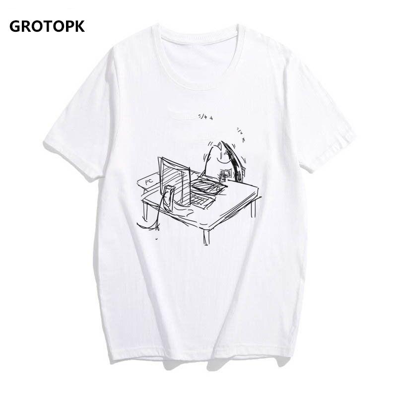 d2a4c8454 Hard Working Fish T Shirts For Women 2019 Harajuku Japanese Style Cotton  Tee Shirt Femme Cotton Streetwear Bts Clothing Tops Latest T Shirt Design T  Shirt ...