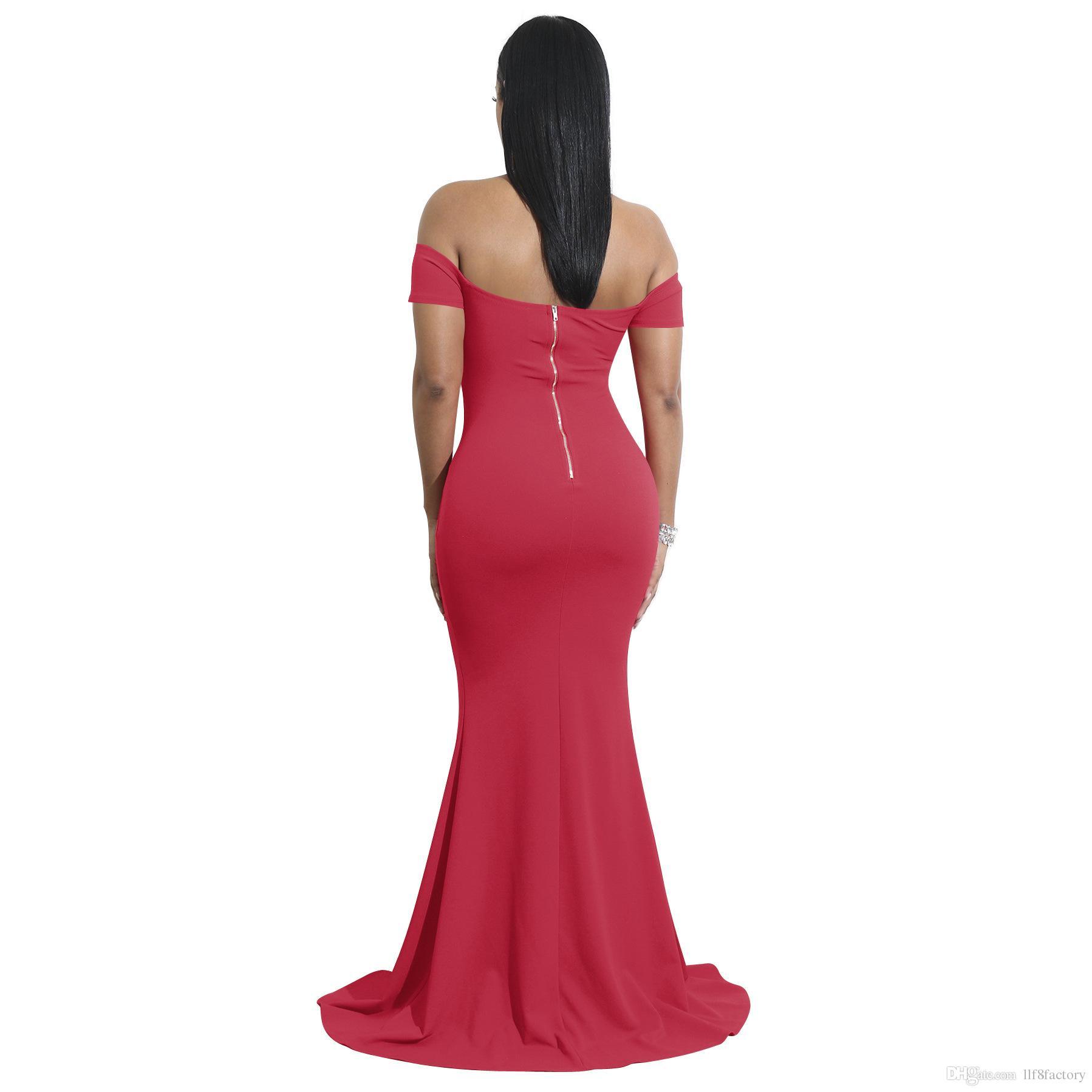 Christmas new high slit design dress sexy strapless fashion Slim elegant mopping banquet dress 9110