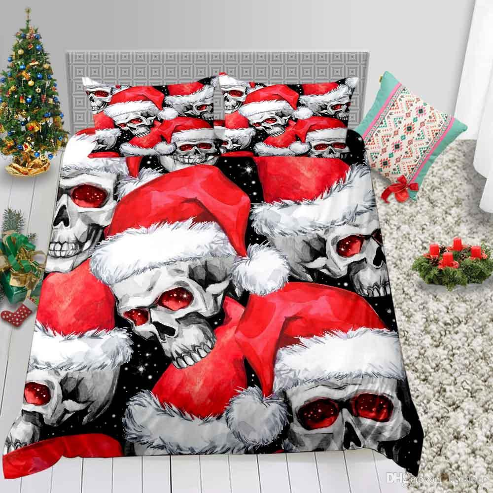 Christmas Series Bedding Set King Size Skull Printed 3D Duvet Cover For Adult Queen Full Twin Double Single Bed Cover with Pillowcase 3pcs