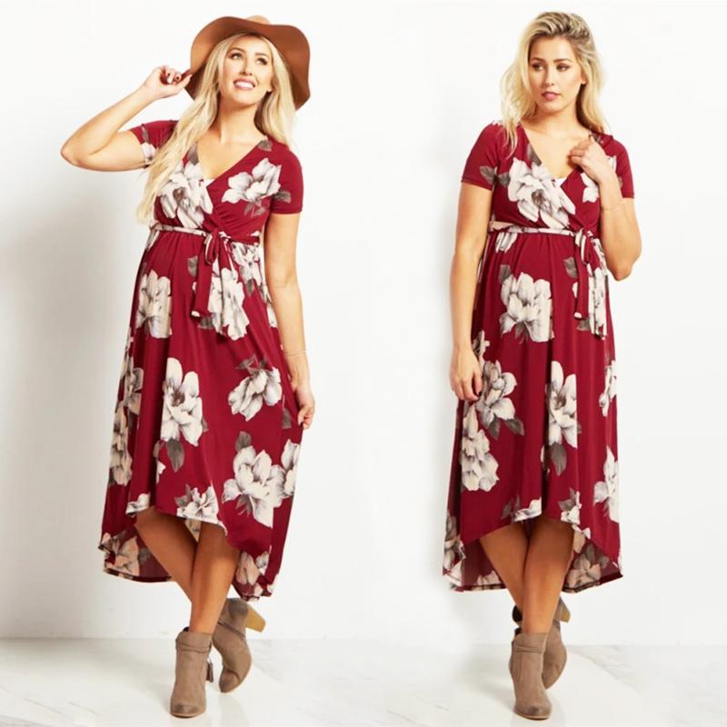 bf86da62d2 2019 Summer Pregnancy Plus Size Dress Elegant V Neck Sashes Floral Short Sleeve  Maternity Clothes For Pregnant Women Dresses W013 From Singnice, ...