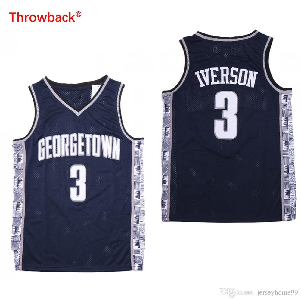 more photos e3b5e b0d8e NCAA Mens Georgetown Hoyas Iverson College Jersey Cheap 3 Iverson  University Basketball Jerseys Size S-2XL Quick delivery
