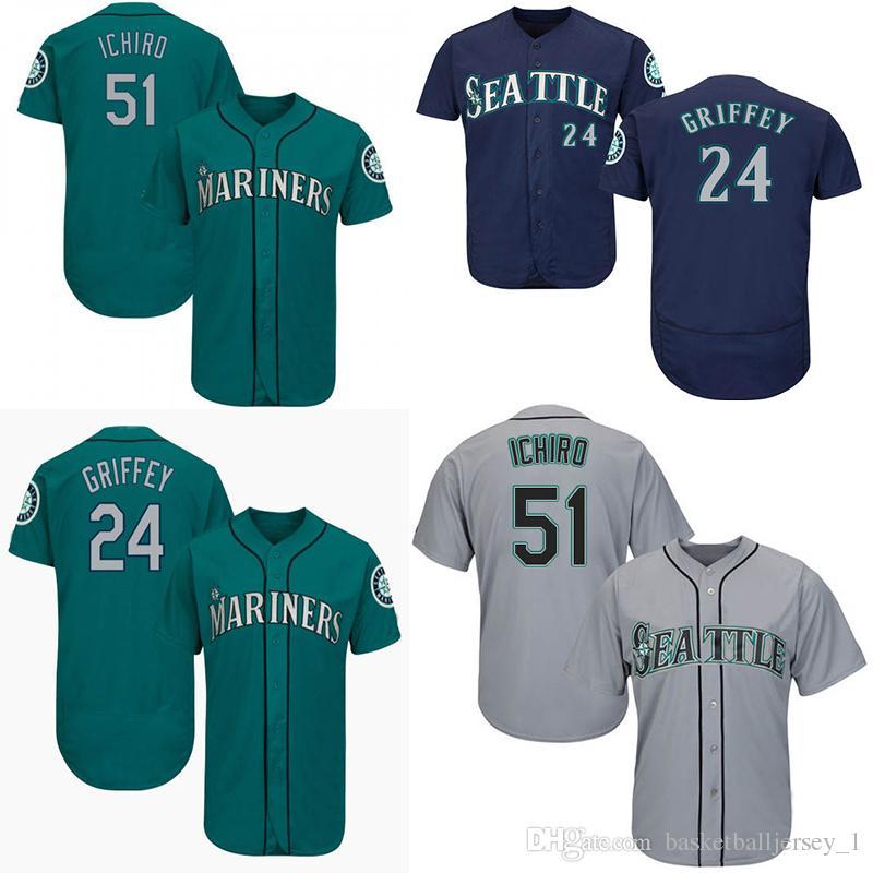 innovative design 7d3a2 a5966 Mariners Seattle Jersey 51 Ichiro Suzuki 24 Ken Griffey Mens Black Green  White Men Baseball Jerseys